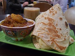 Roti Canai with Malaysian-Indian Chicken Curry and Teh Tarik - Rich Maha, Melbourne | by avlxyz
