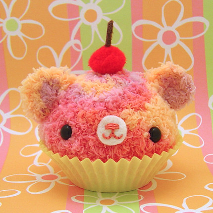 Amigurumi sorbet swirl cupcake bear with cherry on top | by Amigurumi Kingdom