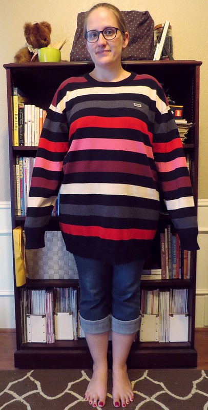 Asymmetric Striped Sweater - Before