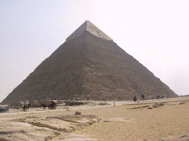View from The Great Pyramid of Giza , also called Khufu's Pyramid or the Pyramid of Khufu, and Pyramid of Cheops, Cairo, Egypt