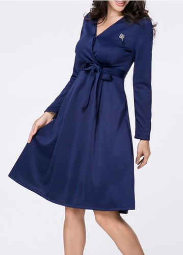 removable tie plain skater dress