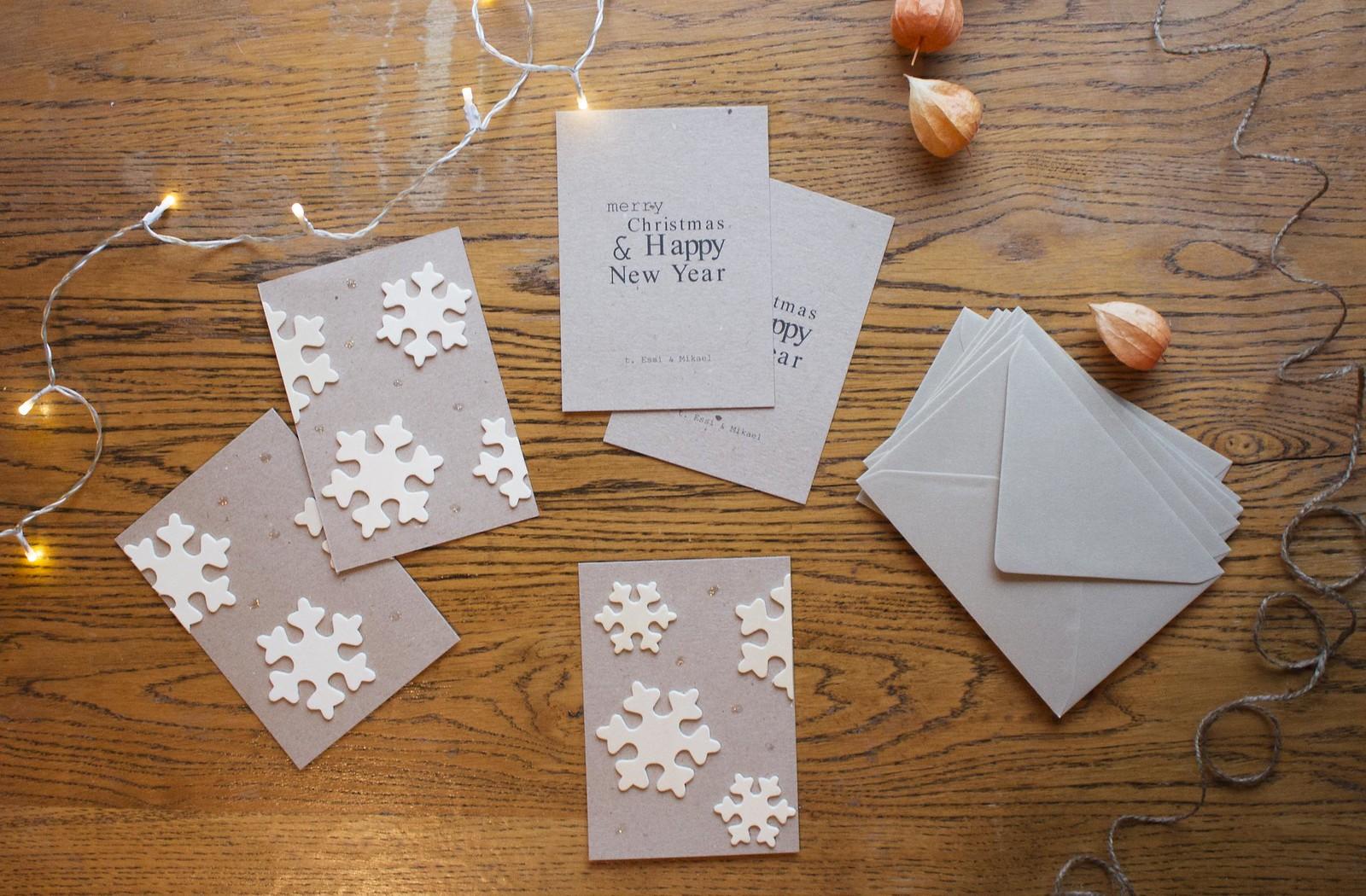 minimalistiset itse tehdyt joulukortit