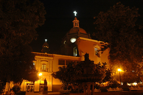 The church in Colima at night (Mexico)