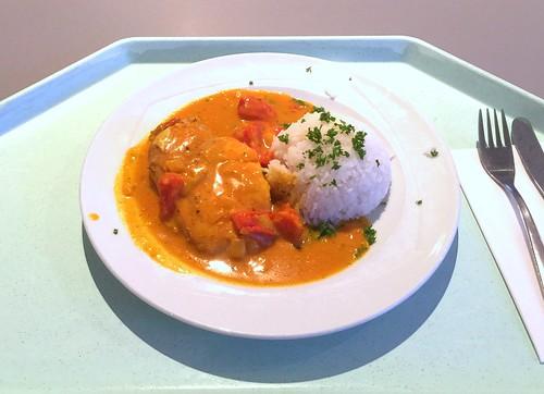 Chicken breast in fruity curry sauce & rice / Hähnchenbrust in fruchtiger Currysauce & Reis