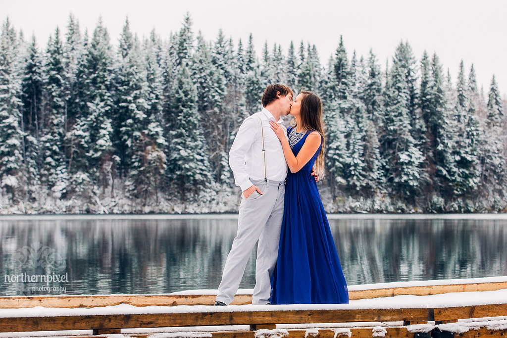 Winter Engagement Photography Session Emerald Lake British Columbia