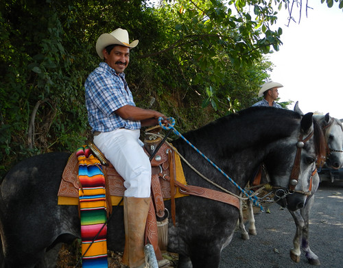 Charros waiting for the archbishop in the mountain village of Las Palmas de Arriba, a short drive from Puerto Vallarta