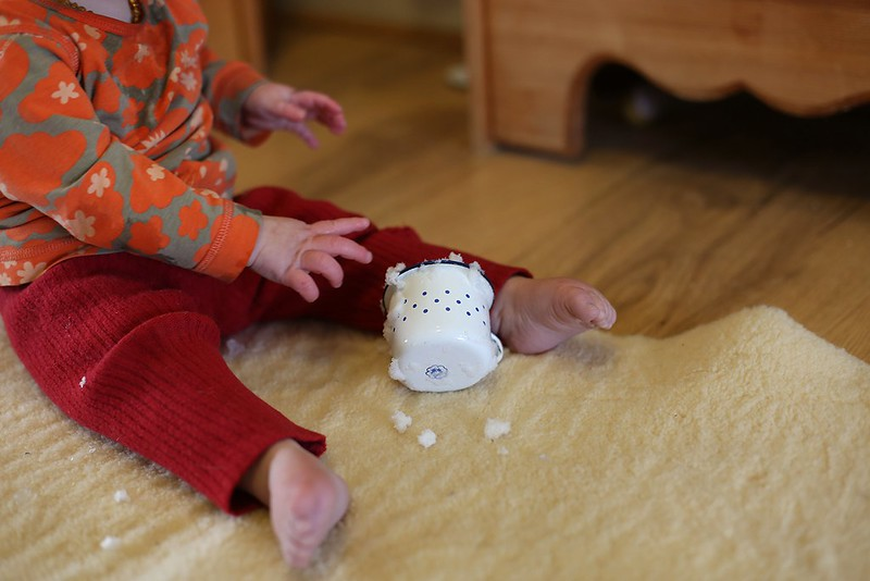indoor snow play for the baby