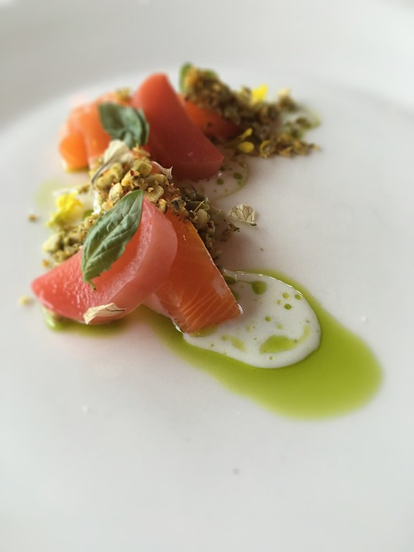 Cured steelhead trout with vanilla-poached rhubarb from The Pointe at the Wickanninis Inn at Long Beach.