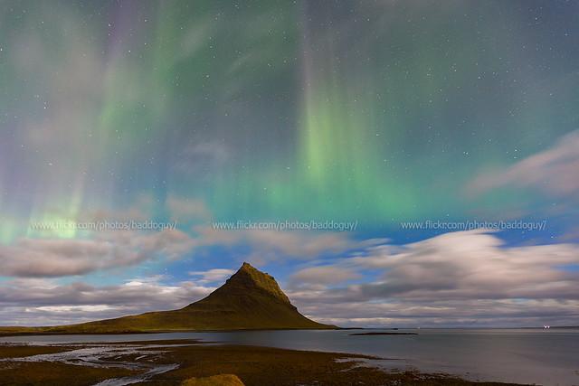 Iceland Scenery - Aurora Borealis over Kirkjufell.