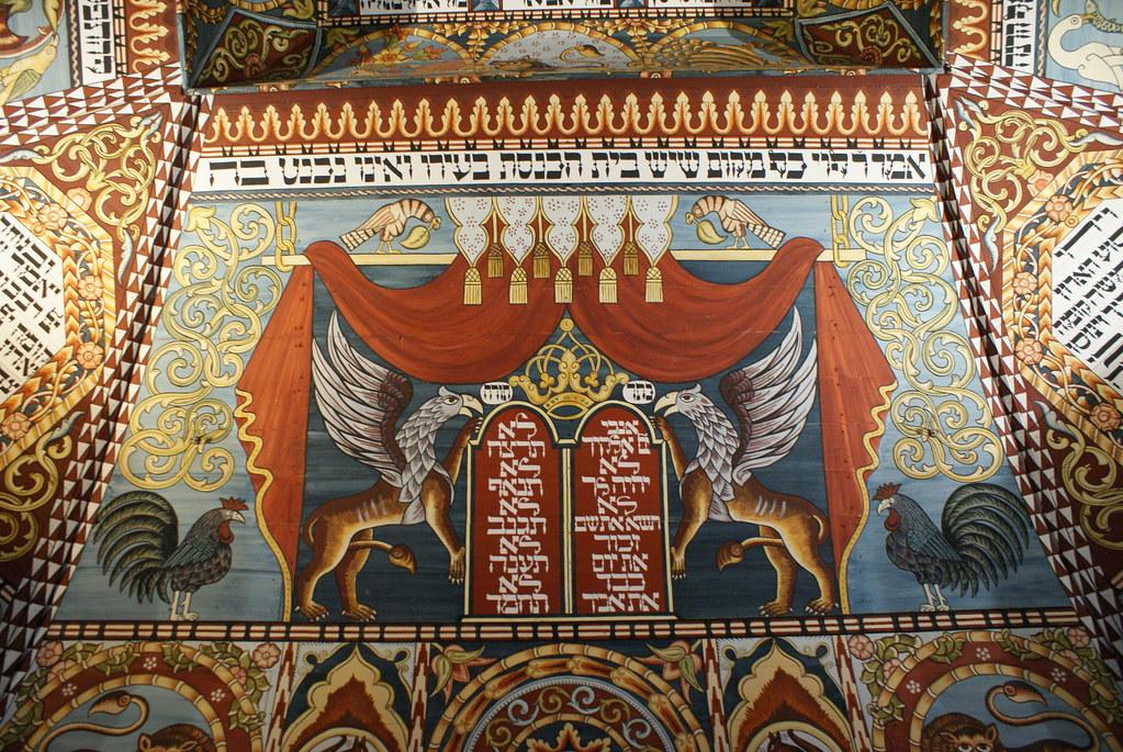 > Reconstitution d'une synagogue dans le musée d'histoire des Juifs polonais.