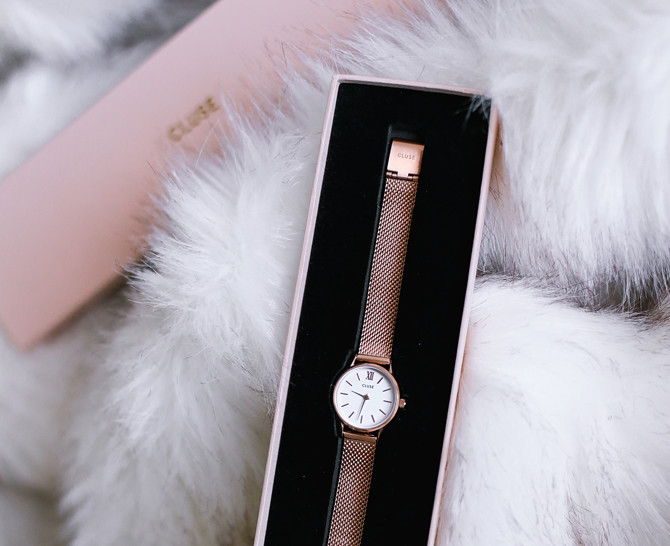 cluse minuit watch rose gold mesh extra petite