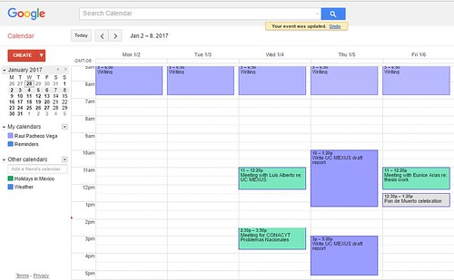 Google Calendar week commitments January