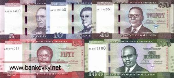 Sada bankoviek 5-100 Dolárov Libéria 2016