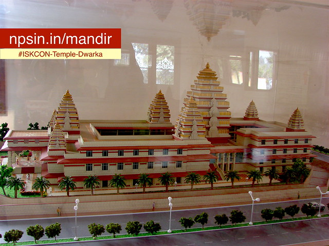 A complete model architectural display with parking area in ISKCON temple.