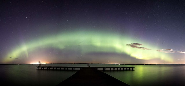 Norther lights in Sweden. Magical night. 5 photo panorama.