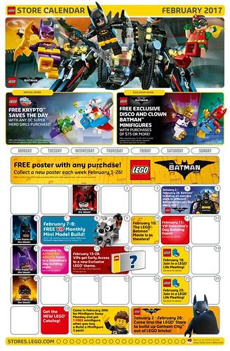 February 2017 LEGO Store Calendar
