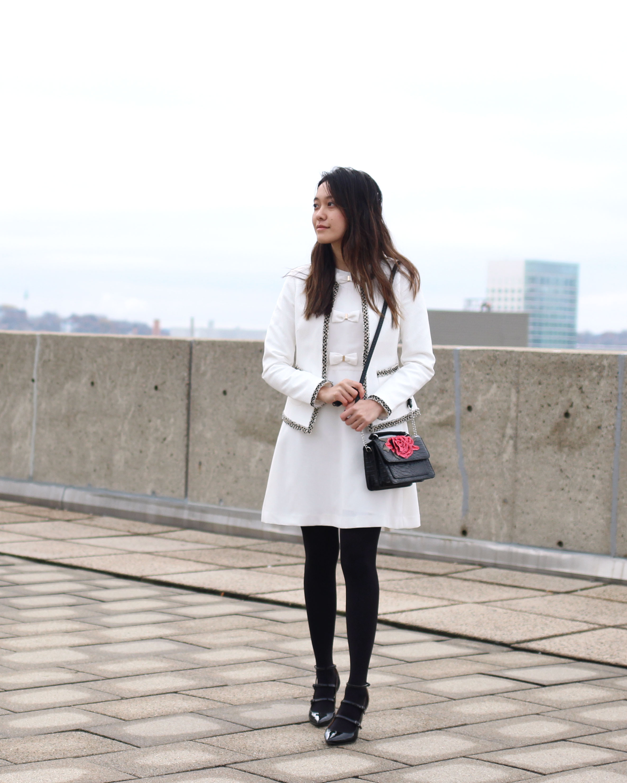 White tweed trim jacket and bow dress