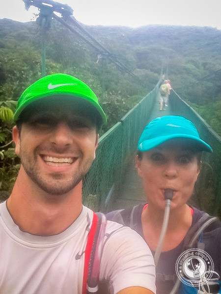 Crossing the hanging bridge during the Moon Run Marathon in Monteverde, Costa Rica