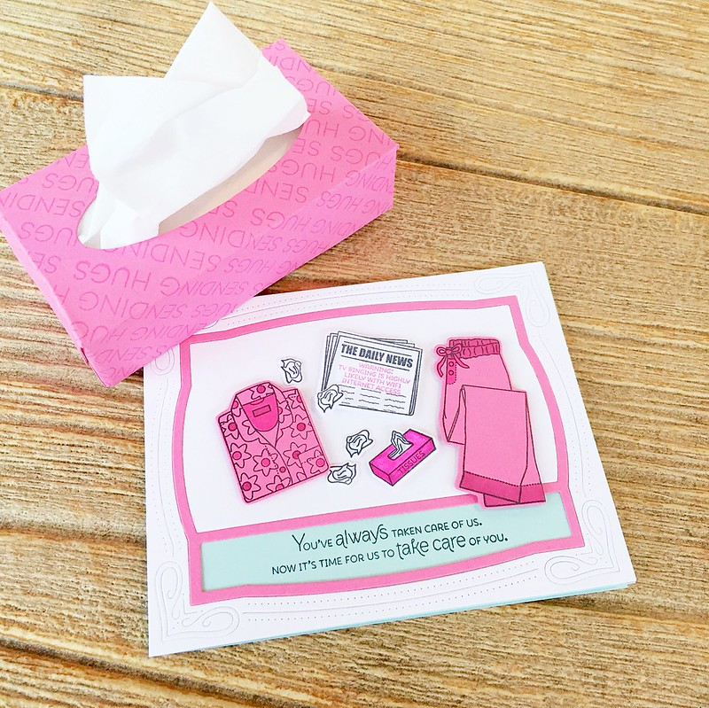Take It Easy Stamps and Dies, Pretty Cover Plate, and Tissue Cover Dies by Papertrey Ink