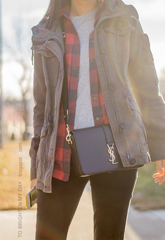 gray military jacket, red buffalo checked button up shirt, gray tee, black skinny jeans, black crossbody bag