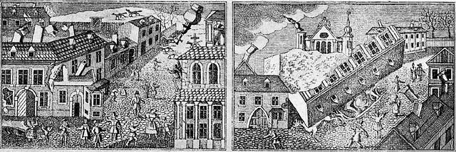 Efectele cutremurului din 23 ianuarie 1838 in Bucuresti, reprezentate pe o gravura in lemn dintr-o publicatie a epocii (sursa: Colectia Academiei Romane)