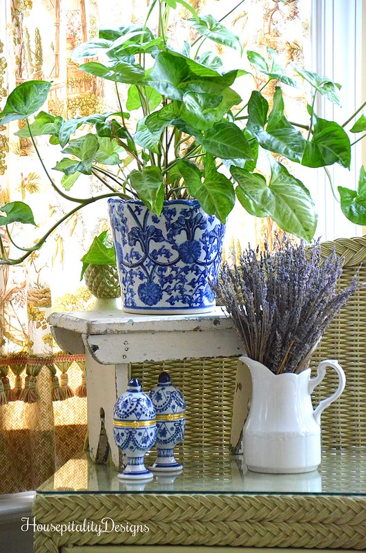 Blue and White-Sunroom-Potting bench-Housepitality Designs