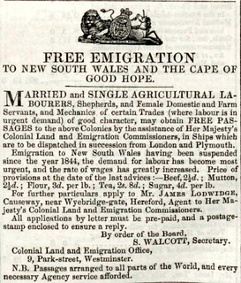 Hereford Journal emigration ad 1847