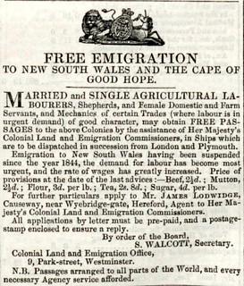 Hereford Journal emigration ad 1847
