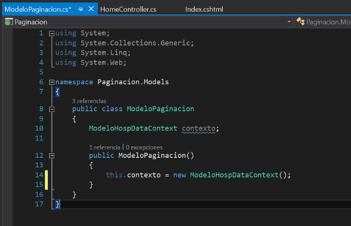 10.Paginación con ASP.NET en Visual Studio crear nuevo modeloHosp