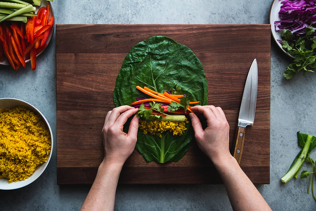 Collard Green Rainbow Rolls with Turmeric Rice and Spicy Peanut Dipping Sauce | Will Cook For Friends