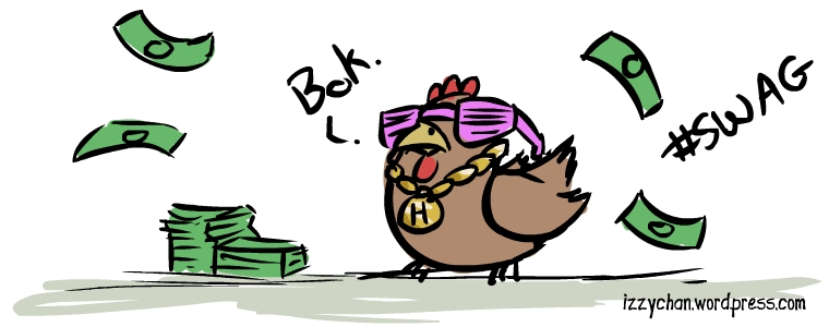 chicken with lots of money and gold chain