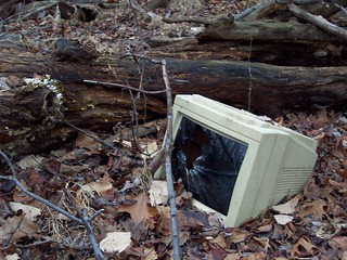 Broken computer monitor found in the woods | by binarydreams
