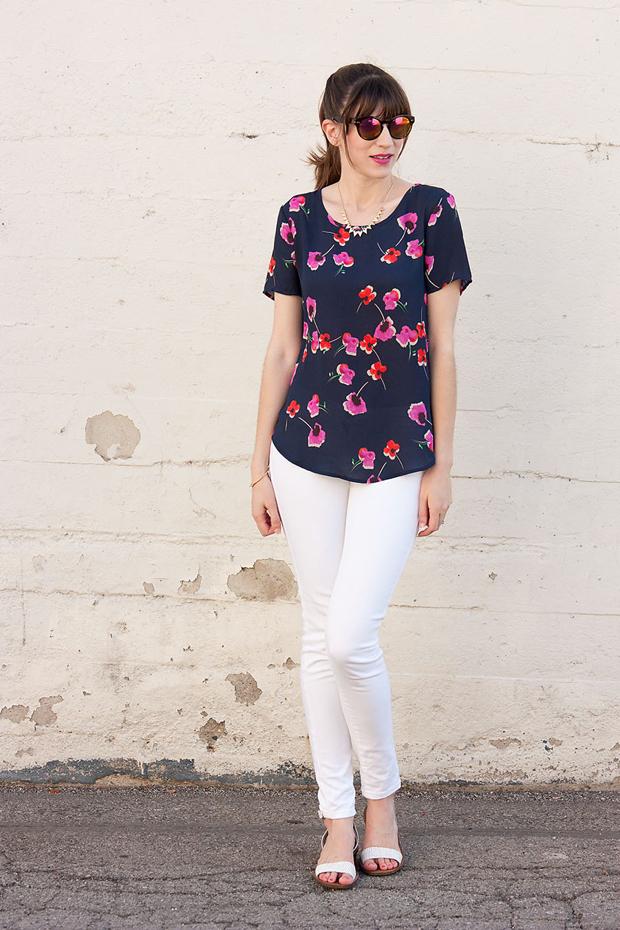 Brandzaffair, Pleione Floral Tee, Mirrored Sunnies, White Jeans