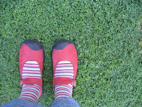 Red shoes, Striped socks | by mjecker