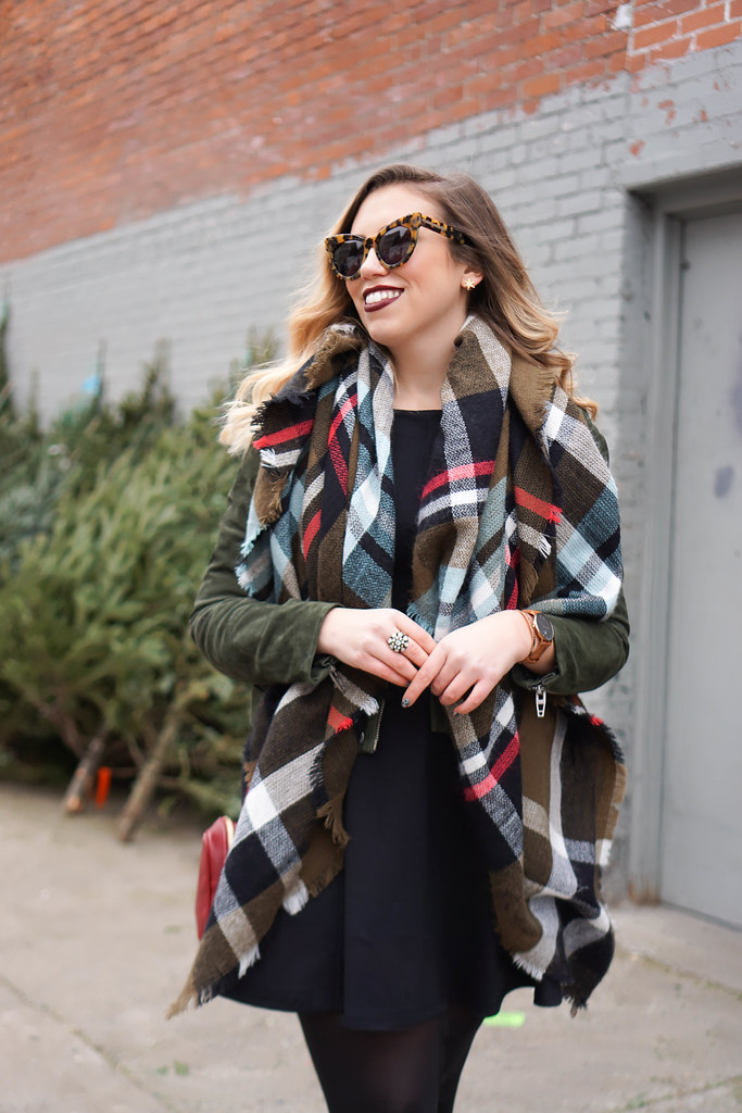 Blank NYC Olive Suede Moto Jacket | Plaid Scarf | Casual Holiday Outfit