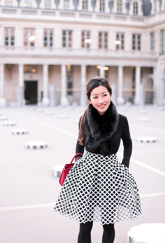 maje flare skirt black white dressy winter outfit
