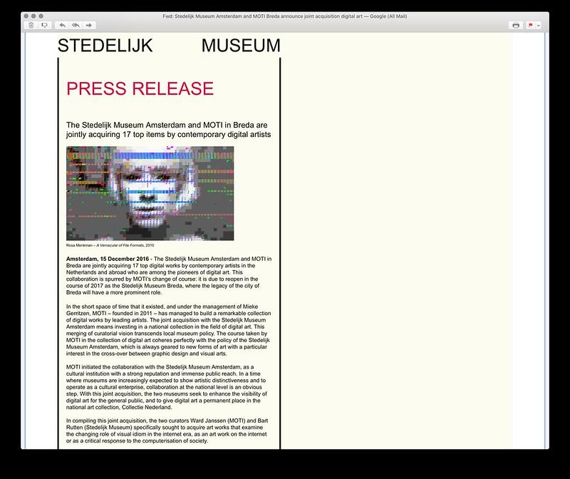 Press Release Stedelijk Museum