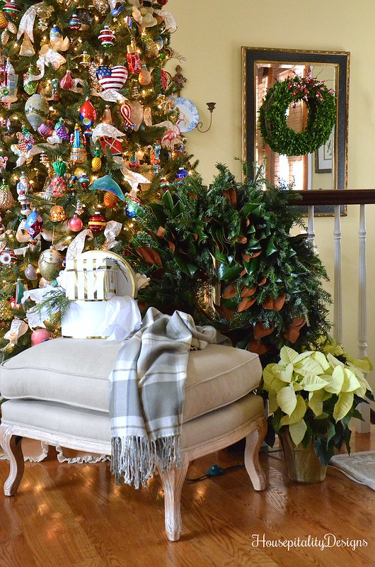 French Country Ottoman-Christmas Tree-Magnolia Wreath-Housepitality Designs