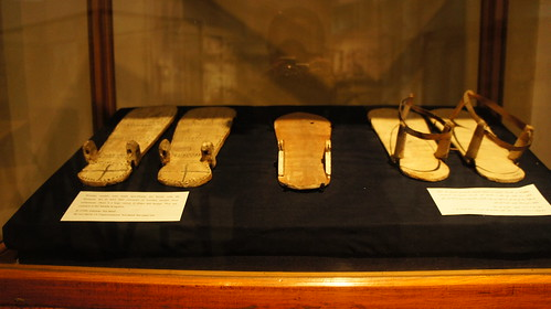An collection of ancient Egyptian wooden open shoes