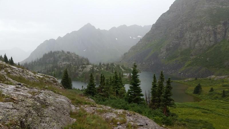 It begins to rain in earnest as we approach Moon Lake