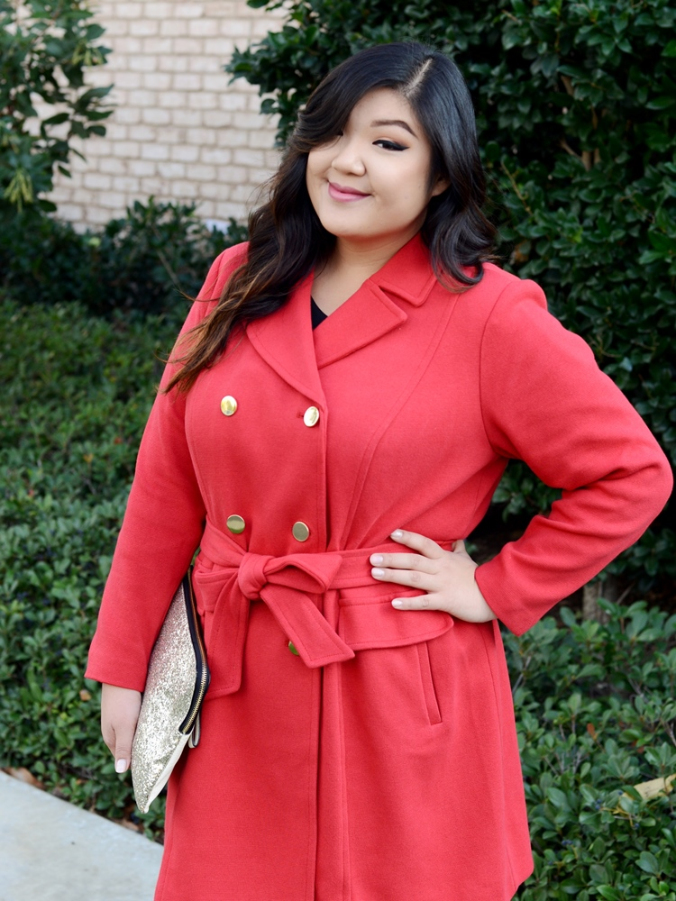 Macy's INC International Concepts Red Coat Plus Size Holiday Outfit