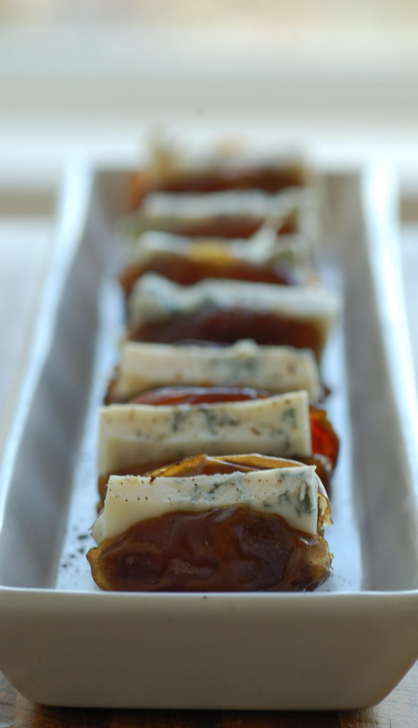 fresh dates with blue cheese