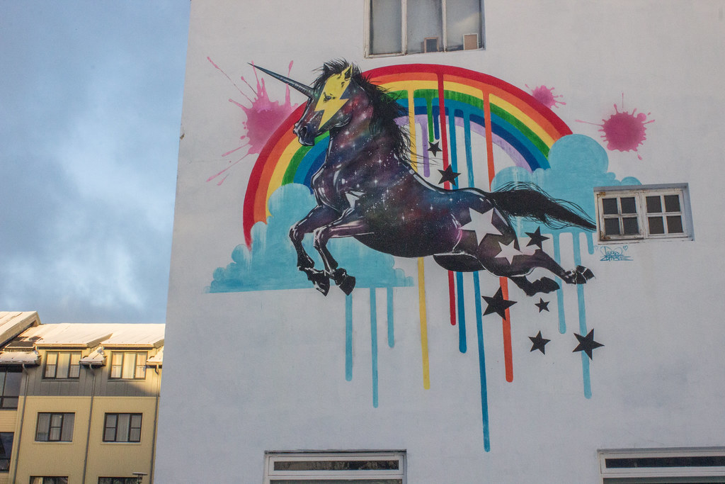 Reykjavik street art magic rainbow unicorn