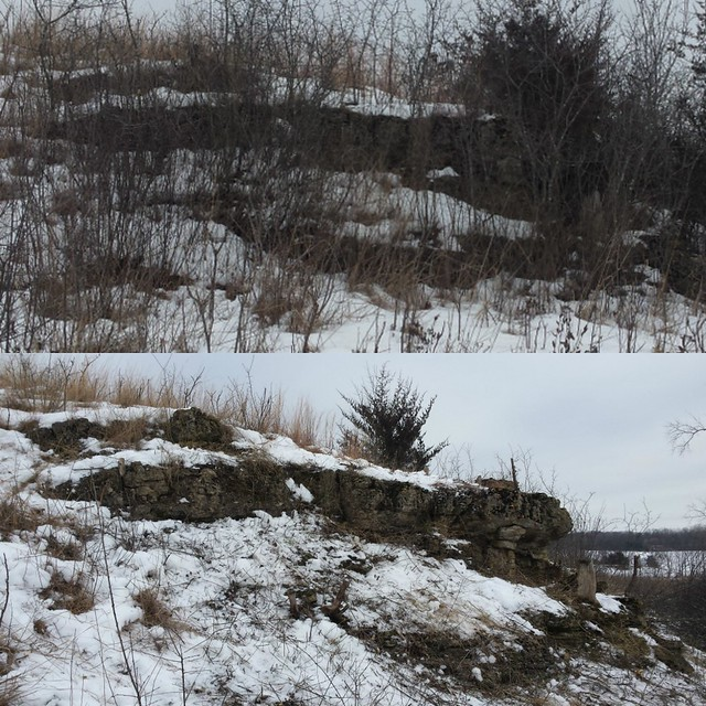 limestone outcrop before and after brush clearing
