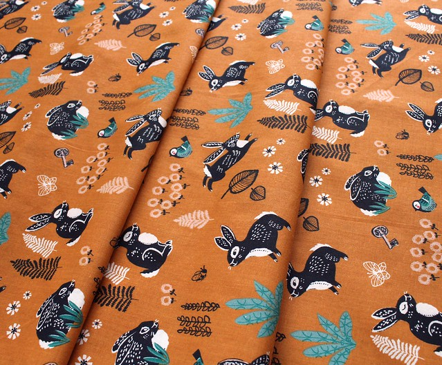 Birch Fabrics The Hidden Garden Bunny Hop Orange