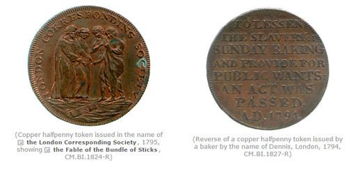 Copper halfpenny tokens