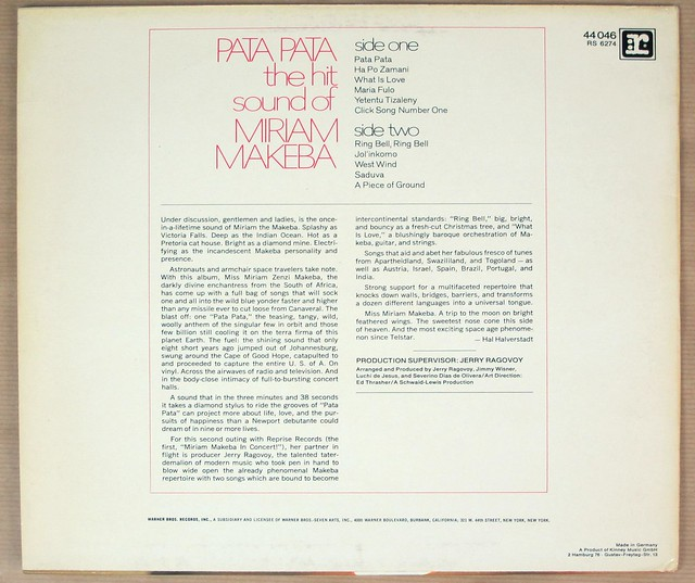 MIRIAM MAKEBA - Pata Pata African World Music Vinyl Album