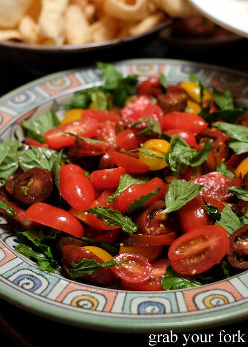 Five types of cherry tomato salad with basil and mint at our Stomachs 11 Christmas dinner 2016