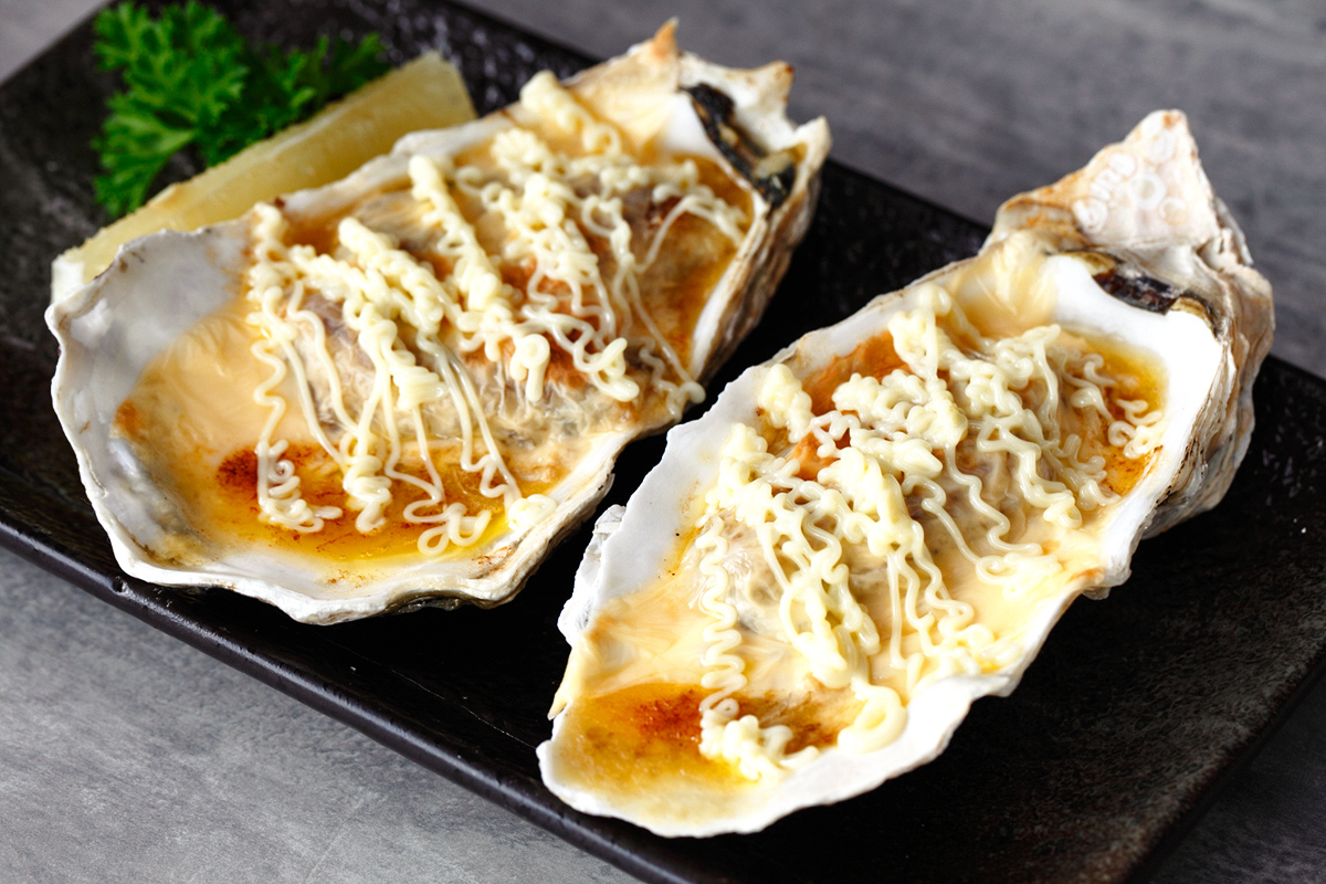 Oscar Cheese Baked Oysters with Enoki