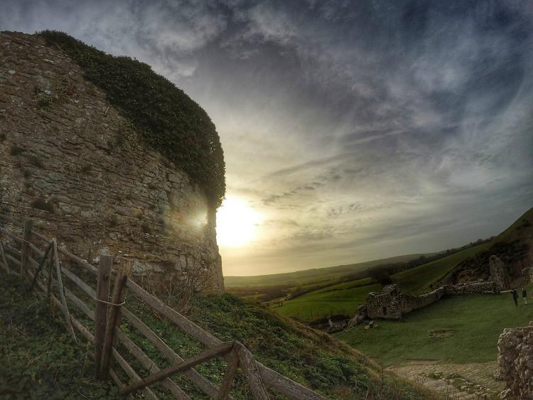 Corfe Castle sun set